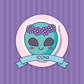 Decorative ribbon with cute alien icon
