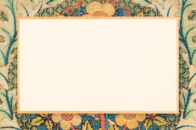 Remix decorativo della cornice di fiori di rosa da un'opera d'arte di william morris