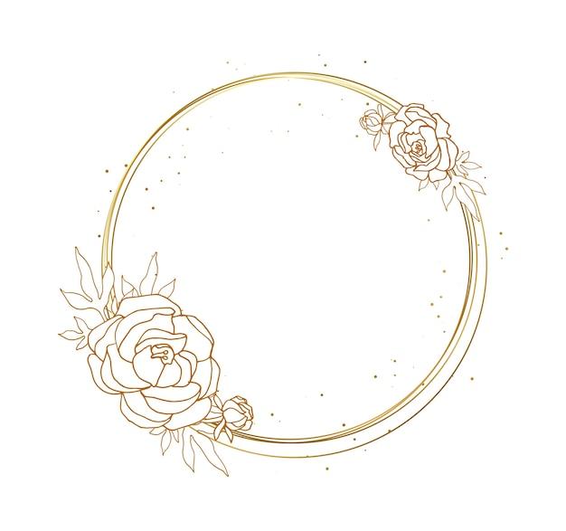 花が付いている装飾的な円形フレーム