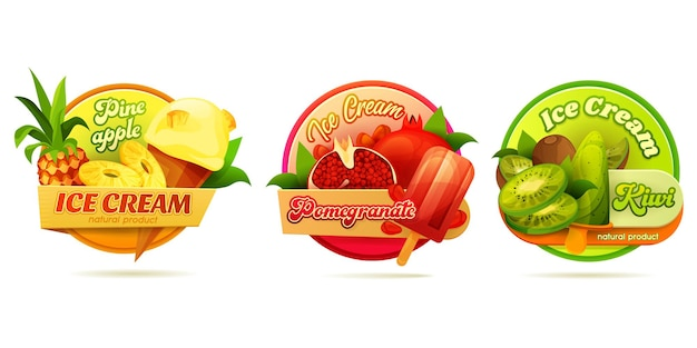 Decorative round labels for ice cream or ice pops