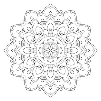 Decorative round ornament outline mandala.