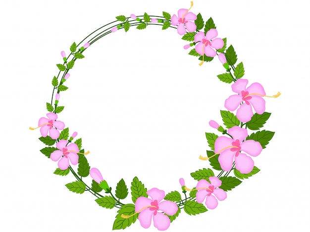 Decorative rounded frame made by beautiful flowers and green leaves
