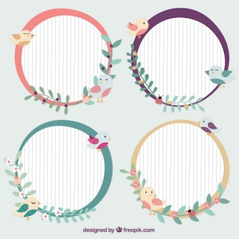 Decorative rounded frames with birds