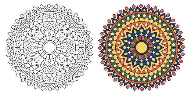 大人のための装飾的な丸みを帯びた曼荼羅デザインの塗り絵ページ