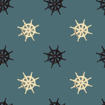 Декоративный матрос бесшовные модели с бежевым и черным орнаментом колеса корабля. темно-синий бледный фон.