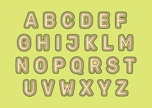 装飾的な砂の形のデザインのアルファベットセット