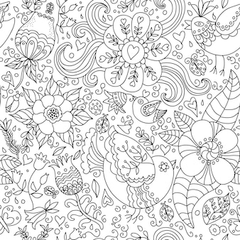 Decorative seamless background pattern with contour drawing of flowers and birds.