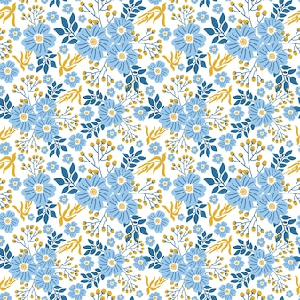 Decorative seamless floral pattern in blue flowers