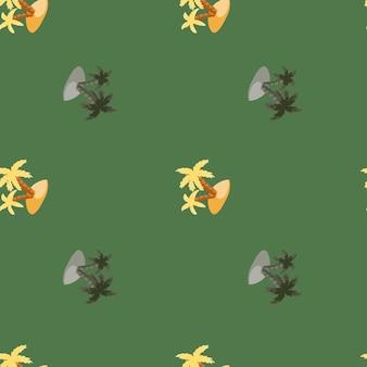 落書き島とヤシの木のプリントで装飾的なシームレスなハワイのパターン。緑の淡い背景。シンプルなスタイル。ファブリックデザイン、テキスタイルプリント、ラッピング、カバー用に設計されています。ベクトルイラスト。