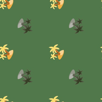 Decorative seamless hawaii pattern with doodle island and palm tree print. green pale background. simple style. designed for fabric design, textile print, wrapping, cover. vector illustration.