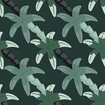 Декоративный бесшовный образец в бледных тонах с простым орнаментом пальмы. зеленые тона. произведение искусства тропиков природы. предназначен для тканевого дизайна, текстильной печати, упаковки, обложки. векторная иллюстрация.