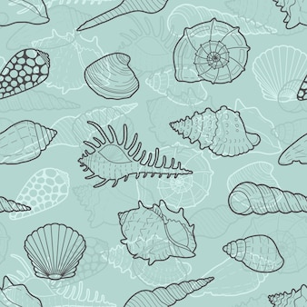 Декоративный бесшовный фон из морских раковин.