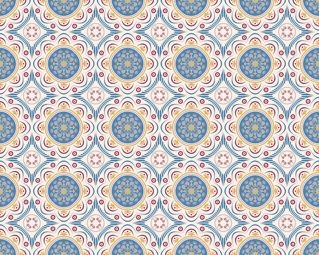 Decorative seamless pattern tiles with abstract decor