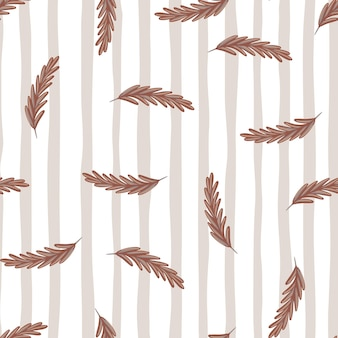 Decorative seamless pattern with beige random ear of wheat silhouettes. grey striped background. perfect for fabric design, textile print, wrapping, cover. vector illustration.