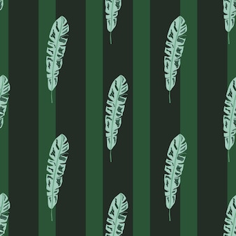 Декоративный бесшовный образец с синим ботаническим принтом силуэтов тропических листьев. темно-зеленый полосатый фон. плоская векторная печать для текстиля, ткани, подарочной упаковки, обоев. бесконечная иллюстрация.