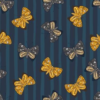 민속 스타일에 식물원 인쇄 나비 요소와 장식 완벽 한 패턴입니다. 네이비 블루 스트라이프 패턴