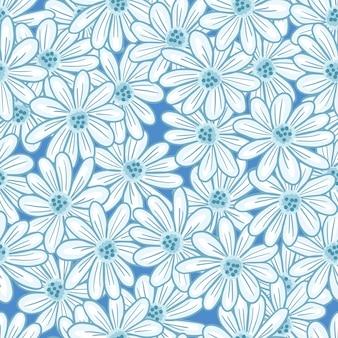 Декоративный бесшовный образец с ромашками случайным контурным орнаментом. природа ditsy фон. фондовый рисунок. векторный дизайн для текстиля, ткани, подарочной упаковки, обоев.