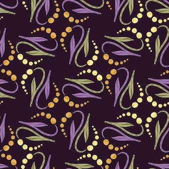 谷の花の落書き抽象的なユリと装飾的なシームレスパターン。紫の暗い背景。ストックイラスト。テキスタイル、ファブリック、ギフトラップ、壁紙のベクターデザイン。