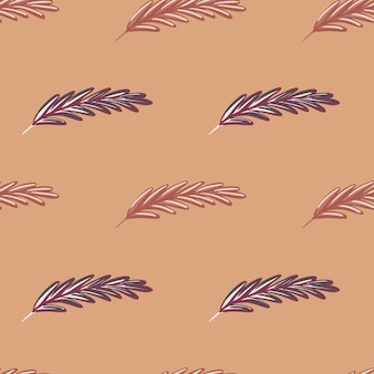 Decorative seamless pattern with doodle simple feather elements print. beige background. nature artwork.