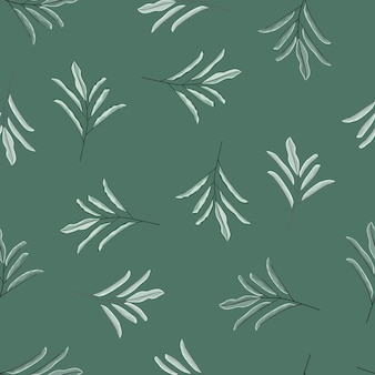 Decorative seamless pattern with floral doodle branches with leaves shapes.