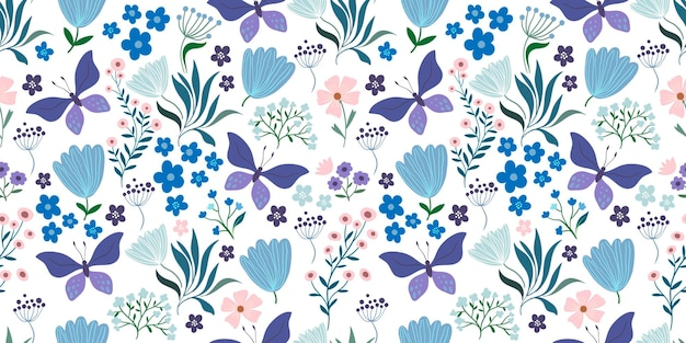 Decorative seamless pattern with flowers and butterflies