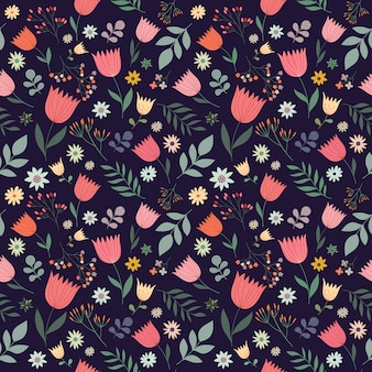 Decorative seamless pattern with flowers, vector design