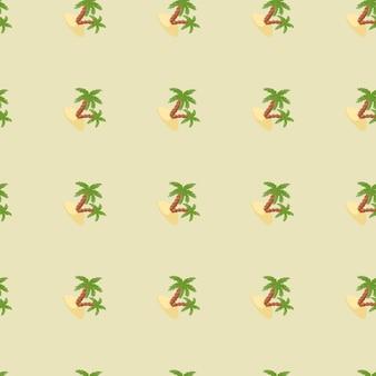緑のヤシの木と島の飾りと装飾的なシームレスパターン。明るいパステルカラーの背景。ファブリックデザイン、テキスタイルプリント、ラッピング、カバー用に設計されています。ベクトルイラスト。
