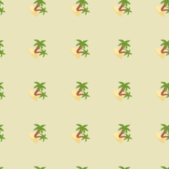 Decorative seamless pattern with green palm tree and island ornament. light pastel background. designed for fabric design, textile print, wrapping, cover. vector illustration.