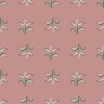 회색 튤립 꽃이 인쇄된 장식용 매끄러운 패턴입니다. 분홍색 배경입니다. 빈티지 봄 시즌 프린트. 포장지 및 패브릭 질감을 위한 그래픽 디자인. 벡터 일러스트 레이 션.