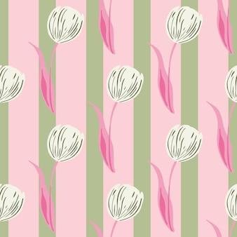 손으로 그린 튤립 꽃 봉오리 실루엣으로 장식적인 매끄러운 패턴입니다. 분홍색과 녹색 줄무늬 배경입니다. 섬유, 직물, 선물 포장, 월페이퍼에 대한 평면 벡터 인쇄. 끝없는 그림.