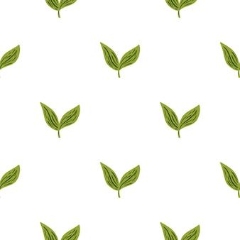 Декоративный бесшовный образец с изолированными маленькими зелеными листьями элементами. минималистичный фон листвы. векторная иллюстрация для сезонных текстильных принтов, ткани, баннеров, фонов и обоев.