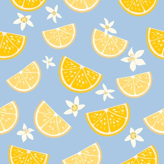 Decorative seamless pattern with lemons and flowers
