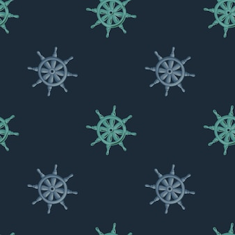 Decorative seamless pattern with lilac and blue ship rudder print. dark background. antique silhouettes.