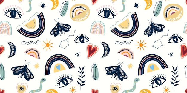 Decorative seamless pattern with mysical elements, eyes, moon, moth and rainbows