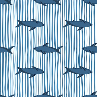Decorative seamless pattern with navy blue shark shapes. white and blue striped background. simple print.
