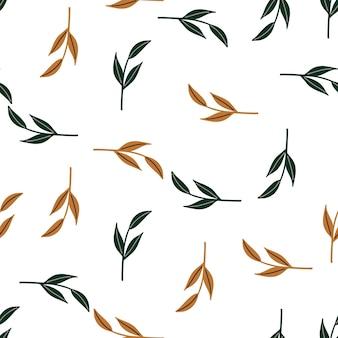 オレンジと緑のランダムなシンプルな葉の枝の形の装飾的なシームレスパターン