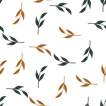 Decorative seamless pattern with orange and green random simple leaf branches shapes