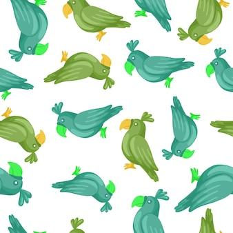 임의의 파란색과 녹색 앵무새 실루엣으로 장식적인 매끄러운 패턴입니다. 격리 된 장식입니다. 동물원 인쇄. 직물 디자인, 직물 인쇄, 포장, 덮개에 적합합니다. 벡터 일러스트 레이 션.