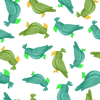 Decorative seamless pattern with random blue and green parrots silhouettes. isolated ornament. zoo print. perfect for fabric design, textile print, wrapping, cover. vector illustration.