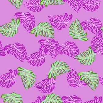 ランダムなエキゾチックなヤシのモンステラの葉のシルエットと装飾的なシームレスパターン。ピンクの背景。テキスタイル、ファブリック、ギフトラップ、壁紙のフラットベクタープリント。無限のイラスト。
