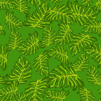 ランダムな緑のモンステラの葉の飾りと装飾的なシームレスパターン。シンプルな飾り。季節のテキスタイルプリント、ファブリック、バナー、背景、壁紙のベクトルイラスト。