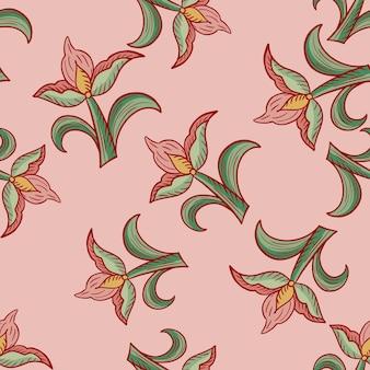임의의 회색 튤립 꽃이 인쇄된 장식적인 매끄러운 패턴입니다. 분홍색 배경입니다. 자연 배경입니다. 포장지 및 패브릭 질감을 위한 그래픽 디자인. 벡터 일러스트 레이 션.