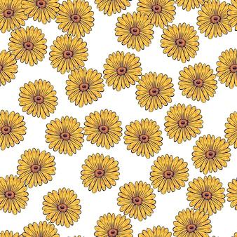 ランダムな黄色のヒマワリの要素が印刷された装飾的なシームレスパターン。孤立した花の背景。季節のテキスタイルプリント、ファブリック、バナー、背景、壁紙のベクトルイラスト。