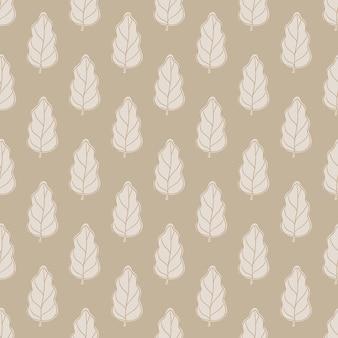 Декоративный бесшовный фон с простыми дубовыми листьями