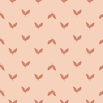 Декоративный бесшовный образец с небольшими абстрактными элементами листьев. розовый пастельный фон. векторная иллюстрация для сезонных текстильных принтов, ткани, баннеров, фонов и обоев.