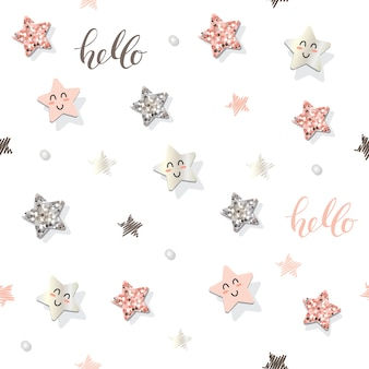 Decorative seamless pattern with stars and glitter confetti.