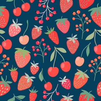 Decorative seamless pattern with strawberries, cherries and currants