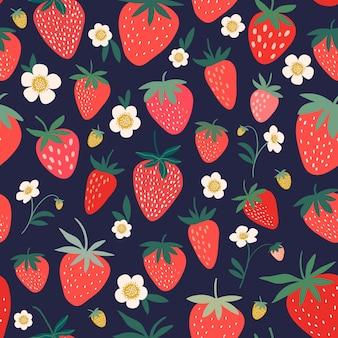 イチゴの花と果物の装飾的なシームレスパターン