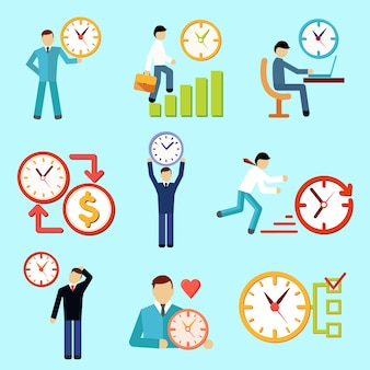 Decorative set of flat time management icons with working people vector illustration
