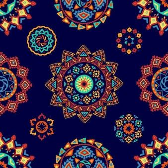 Бесшовные яркие красочные геометрические круглых этнических декоративных элементов